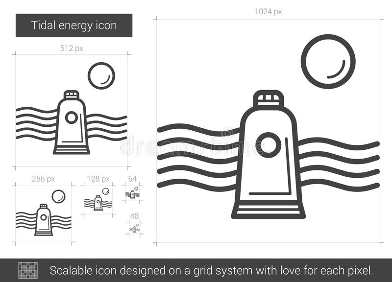Tidal energy line icon. stock vector. Illustration of