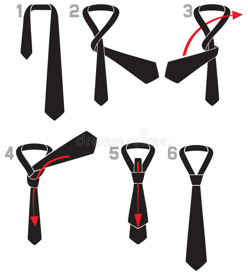 Tie And Knot Instructions Royalty Free Stock Photography