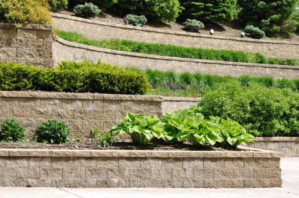 tiered retaining wall stock