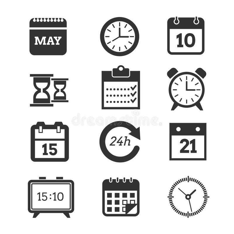 Time, Schedule Vector Icons Set Stock Vector