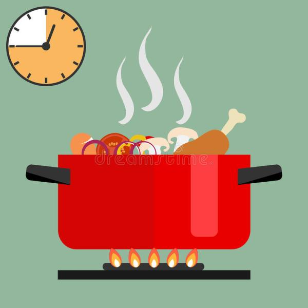Time Of Soup Preparation. Red Cooking Pot Stove With