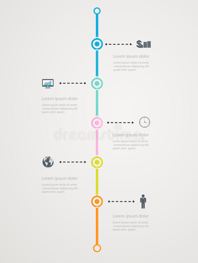 Timeline Infographic With Business Icons, Step Structure