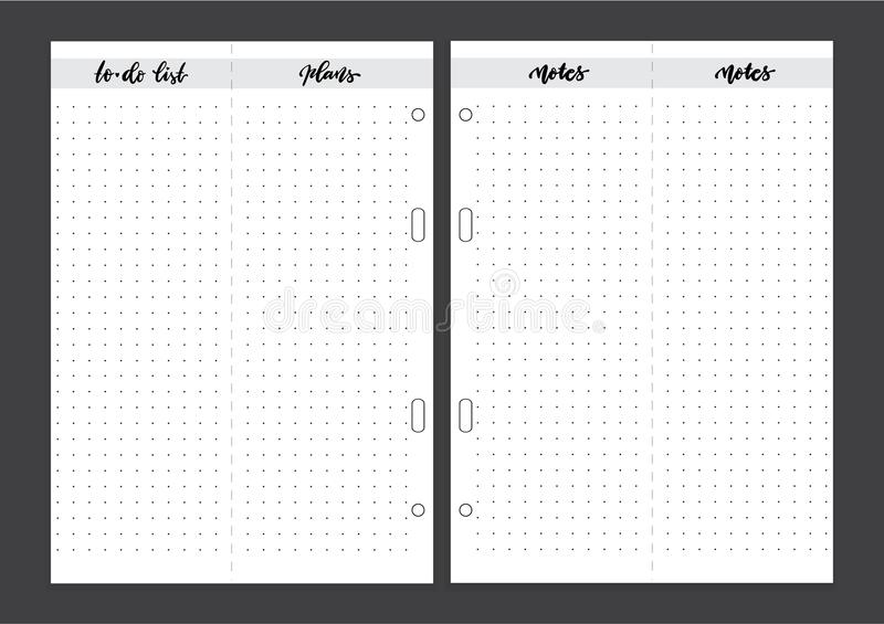 Weekly Planner, Monthly Planner Printable Pages. Vector