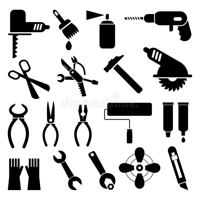 Tool icons stock vector. Image of pliers, scissors, repair