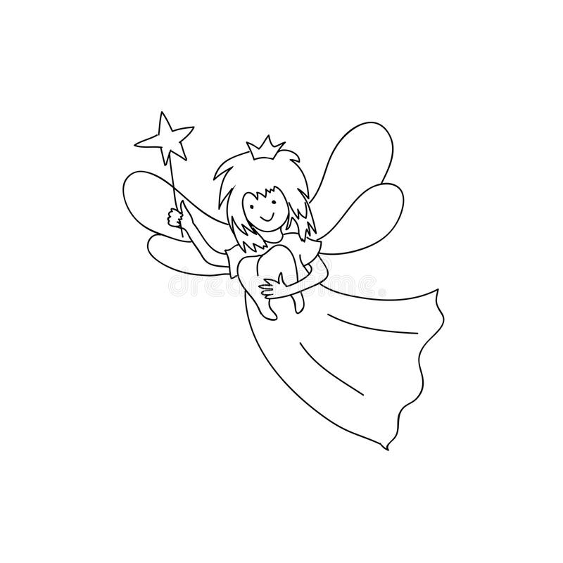 Tooth fairy coloring page stock vector. Illustration of