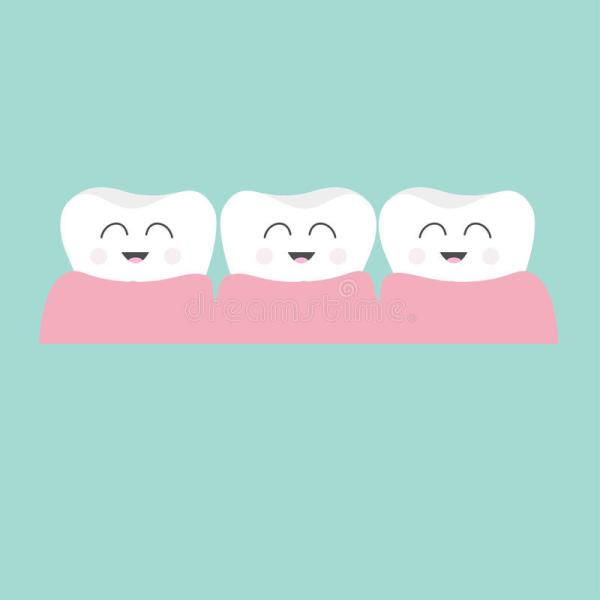 Tooth Gum Icon Three Cute Funny Cartoon Smiling Character