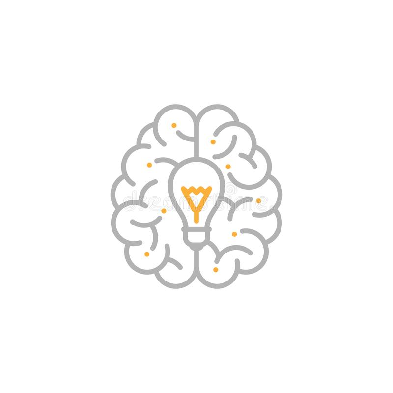 Top Brain Logo Icon With Incandescent Light Bulb Symbol