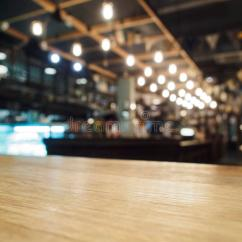 Wooden Chair Design Dining Modern Arm Top Of Table With Bar Cafe Restaurant Blurred Background Stock Photo - Image: 49686022