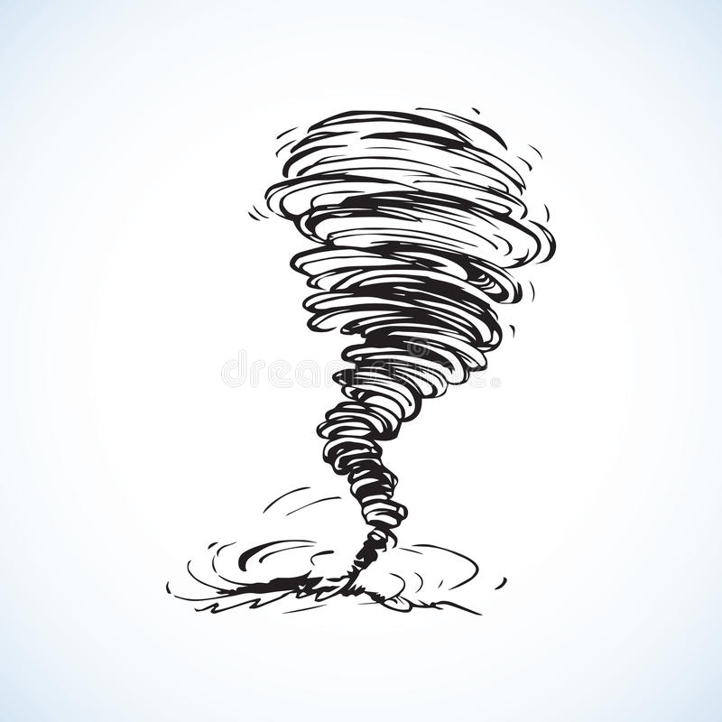 Cartoon Style Hand Drawn Vector Tornado Stock Vector
