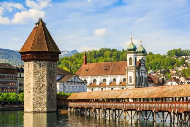 Ponte Kapellbrucke Da Capela E Torre De água Imagem de Stock - Imagem de cidade, marco: 120933277