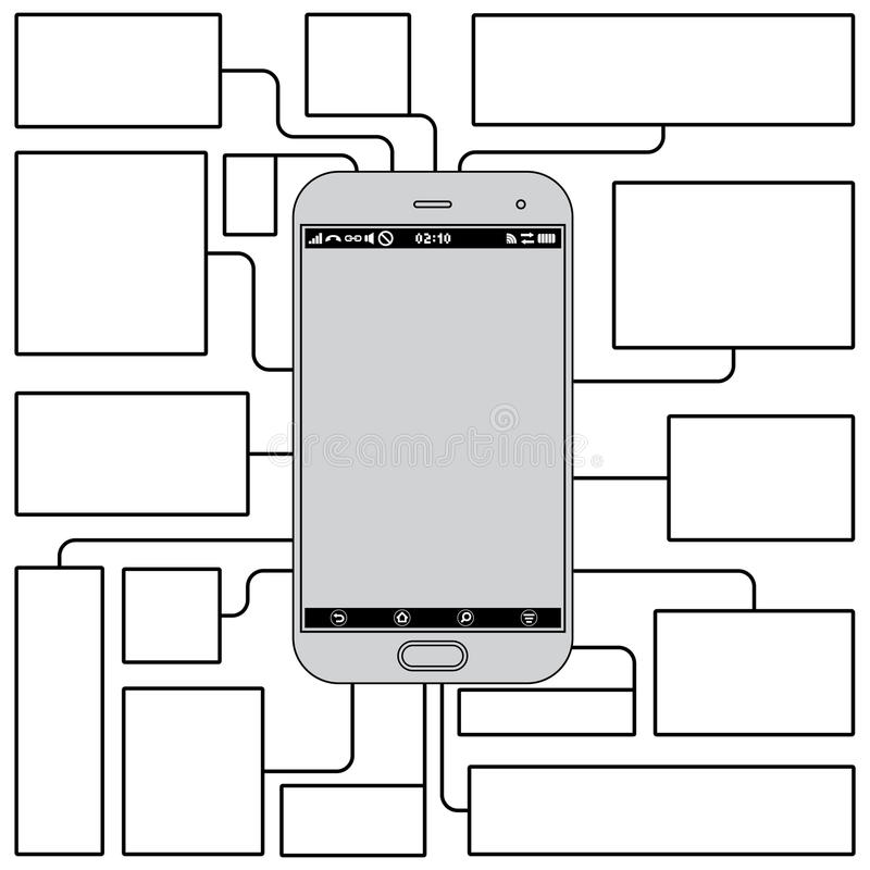 Touchscreen Phone Features. Blank Vector Template Royalty