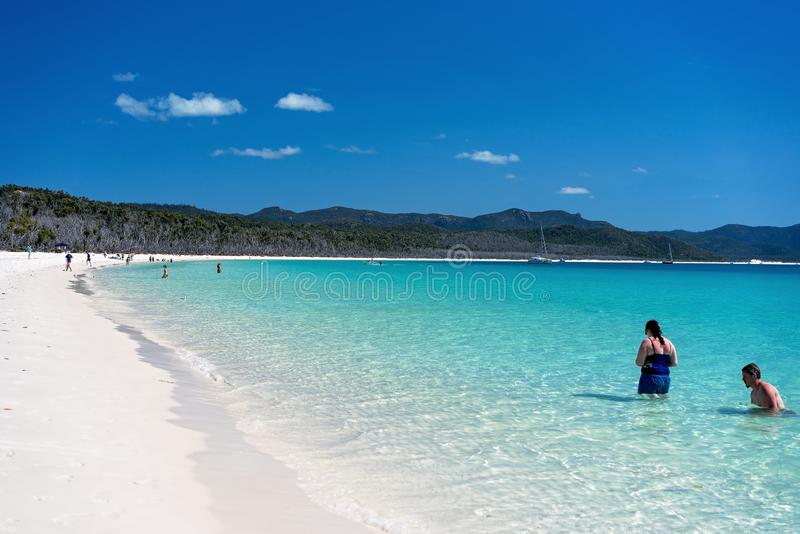 WHITSUNDAYS. AUSTRALIA - AUGUST 24TH: Tourists Enjoying The Clear Blue Water And White Silicon Sand Of Whitehaven Beach In The Editorial Image ...