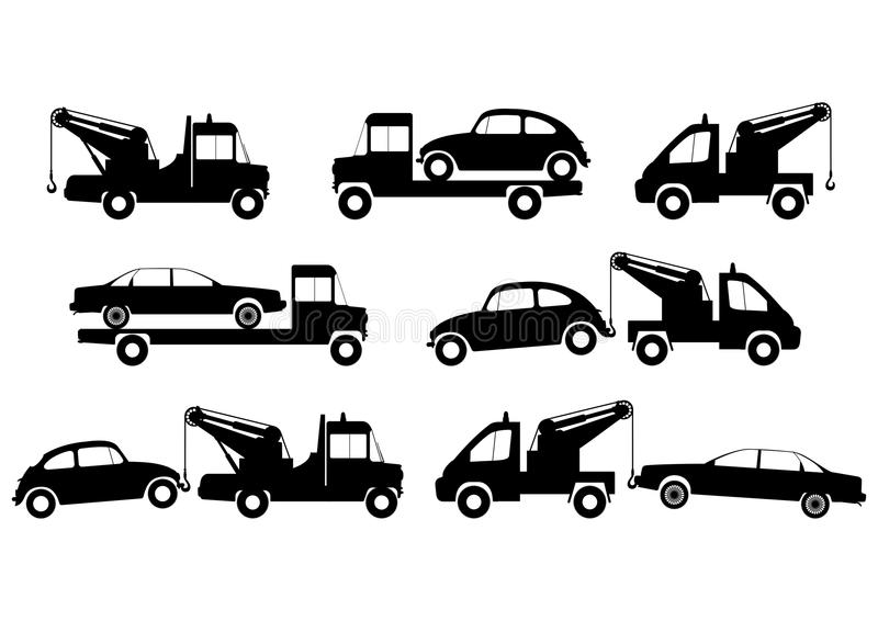 Tow truck silhouettes stock vector. Illustration of