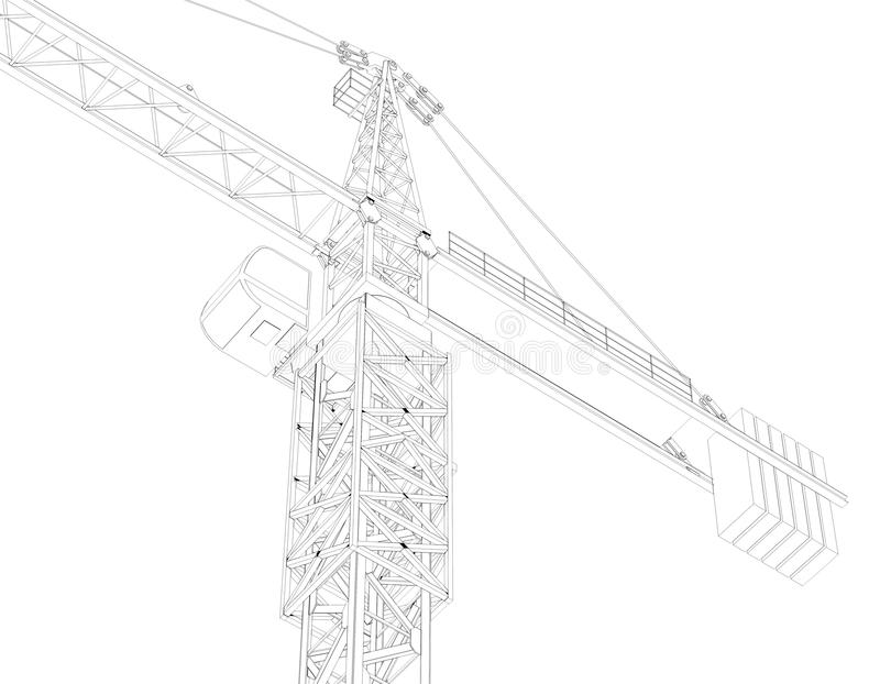 Tower Crane With Bricks And Helmet Stock Illustration