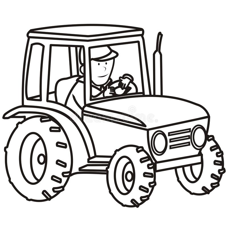 Tractor-coloring book stock vector. Illustration of