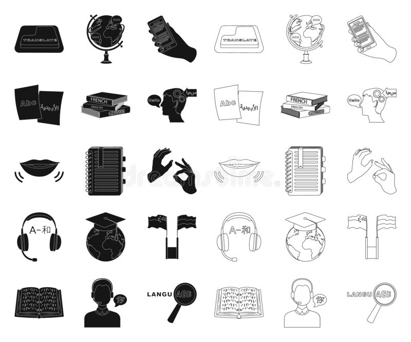 Translator And Linguist Cartoon Icons In Set Collection