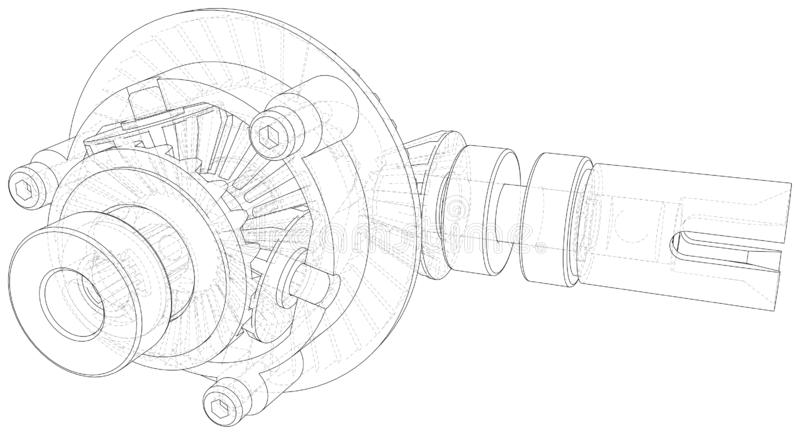 Transmission Gearbox Inside On White Background. Vector