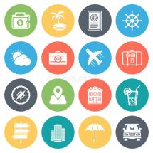 Travel And Holiday Minimal Icon Set Stock Vector