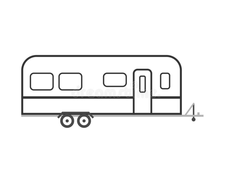 Camper trailer icon stock vector. Illustration of journey
