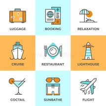 Travel And Vacation Line Icons Set Stock Vector