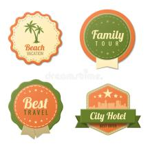Travel Vintage Labels Template Collection. Tourism Stock