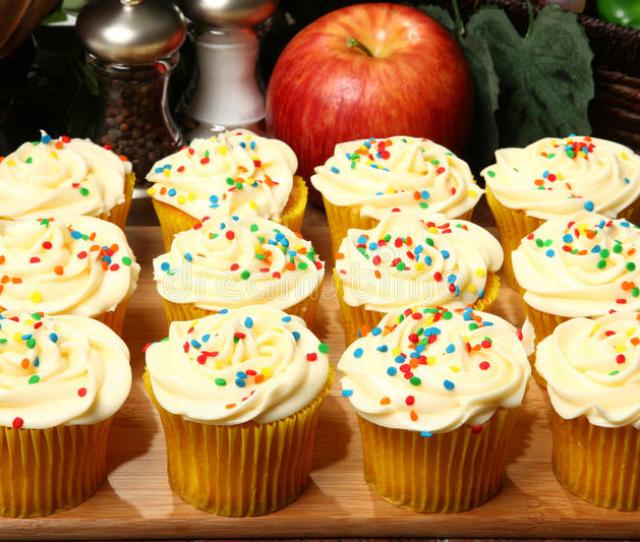 Download Tray Of Cupcakes In Kitchen Stock Photo Image Of Iced Restaurant