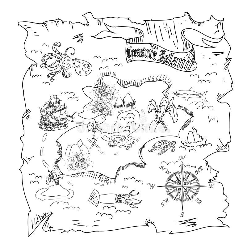 Treasure Island Map Kids Coloring Page Stock Illustration