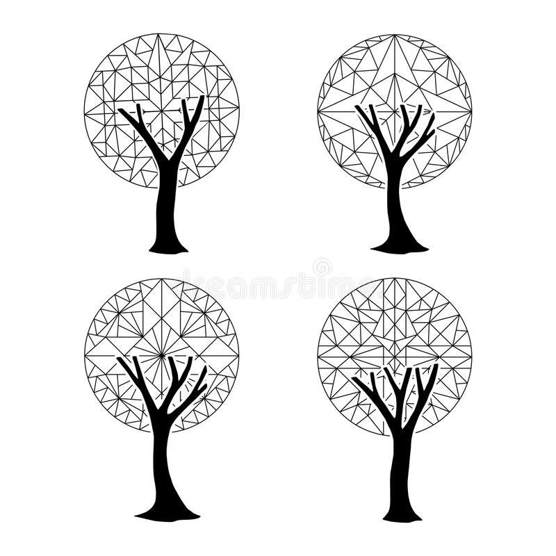 Tree Element Set In Abstract Geometric Style Stock Vector