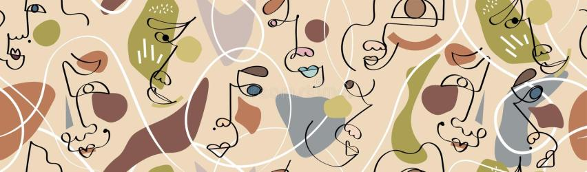 Trendy Abstract Human Faces Header Footer Banner One Line Drawing Aesthetic Pastel Modern Design For Poster Card Print Wall Stock Vector Illustration of concept brush: 159834820