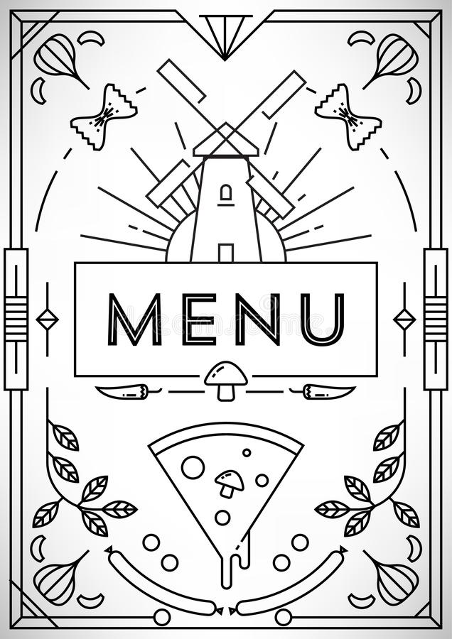 Trendy Pizza Menu Design With Linear Icons Stock Vector