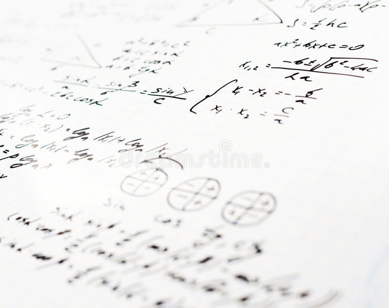 Trigonometry Math Equations And Formulas Stock Photo