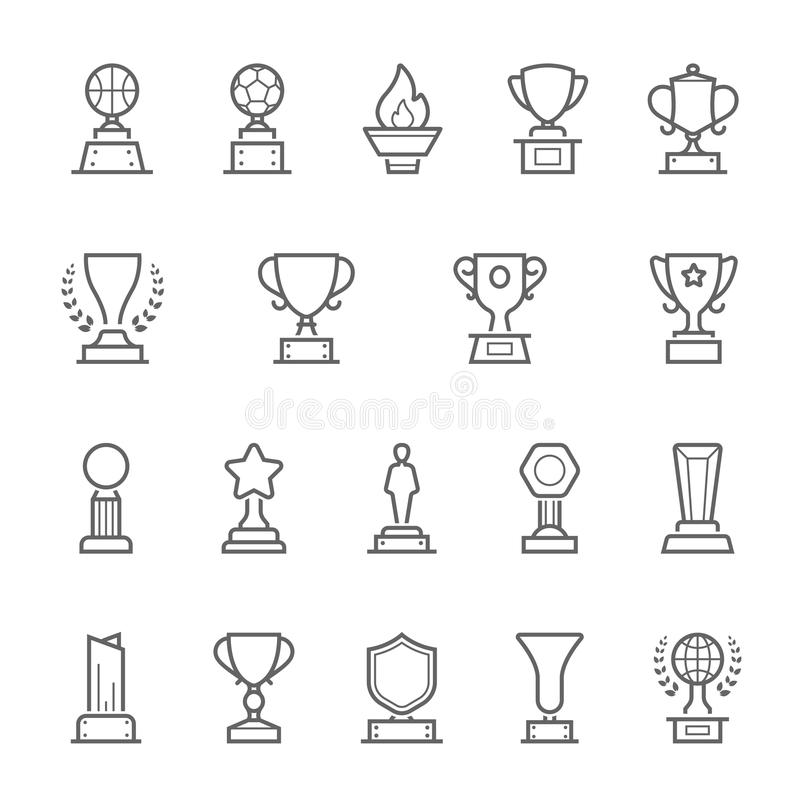 Trophy Awards Outline Stroke Icons Set Stock Vector