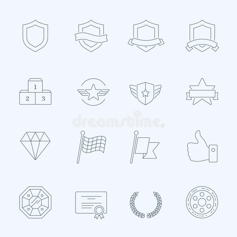 Trophy Awards Vector Outline Stroke Icons Set Stock Vector