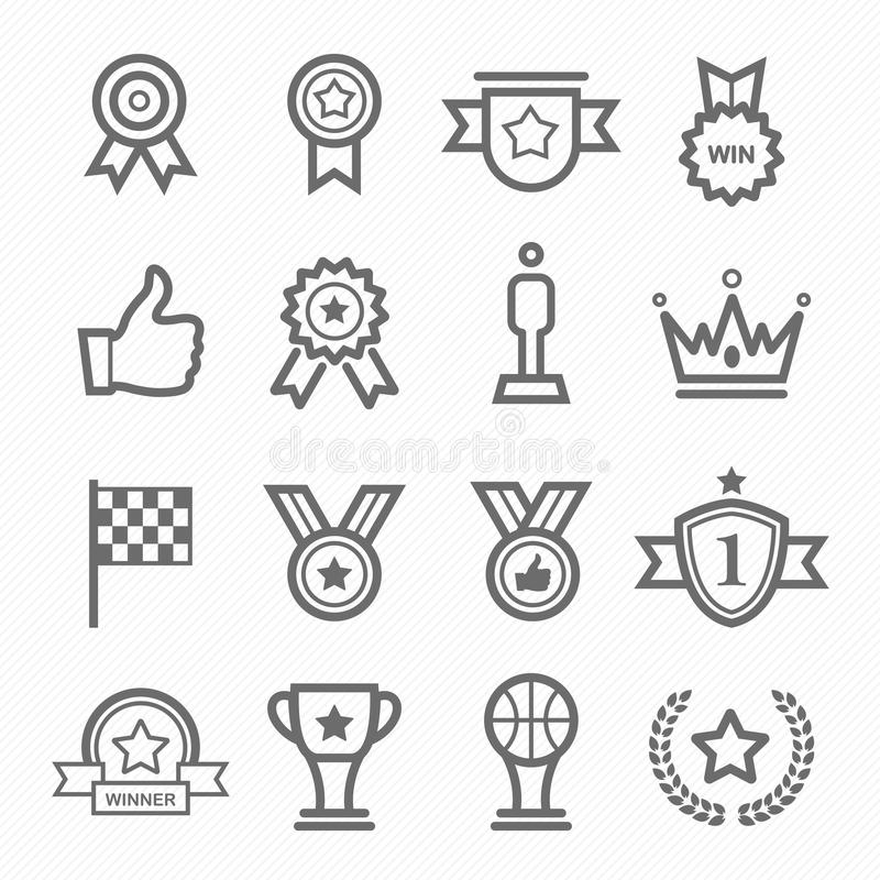 Trophy And Prize Symbol Line Icon Set Stock Vector