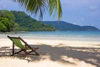 Tropical Beach. Beach Chairs On The White Sand Beach Stock ...