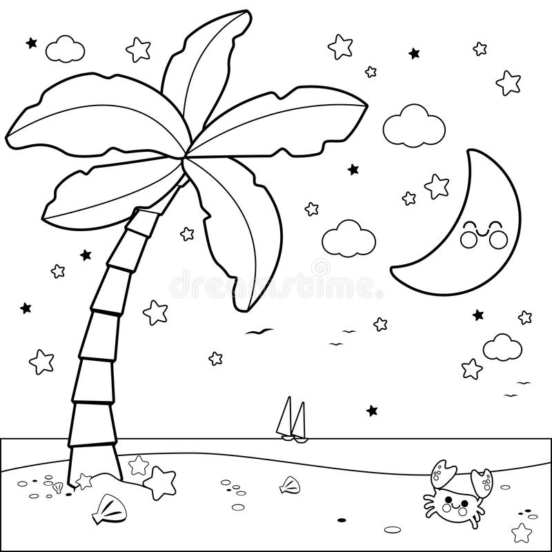 Sun Moon And Stars Coloring Page Stock Vector