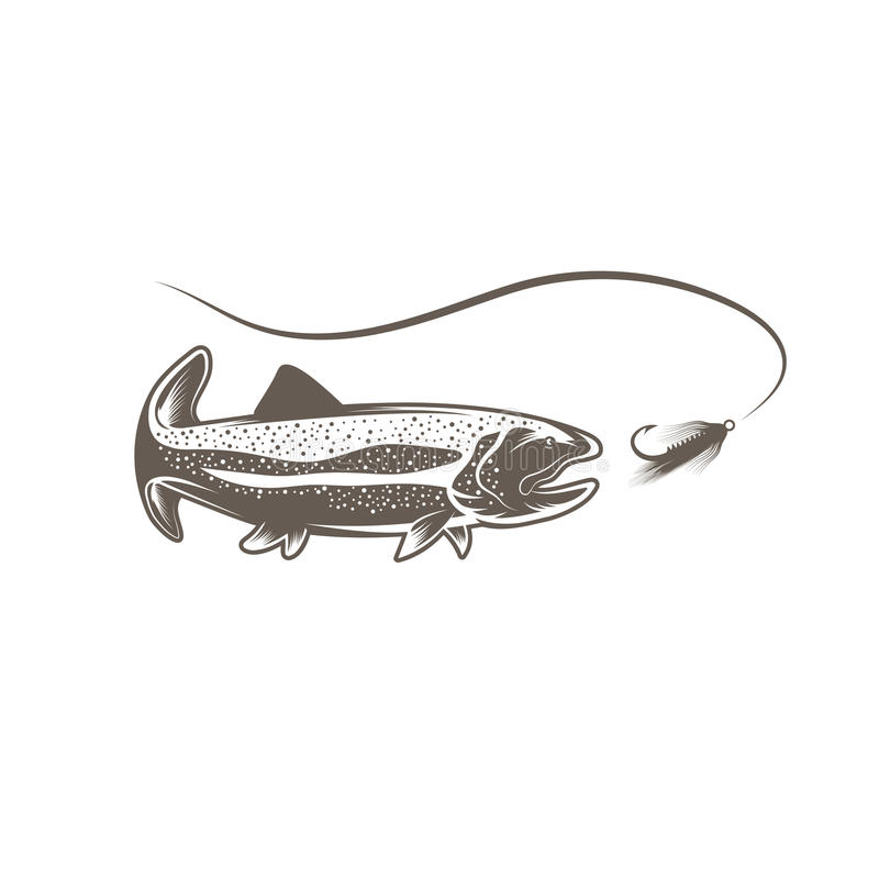 Trout Fish And Lure Vector Design Stock Vector