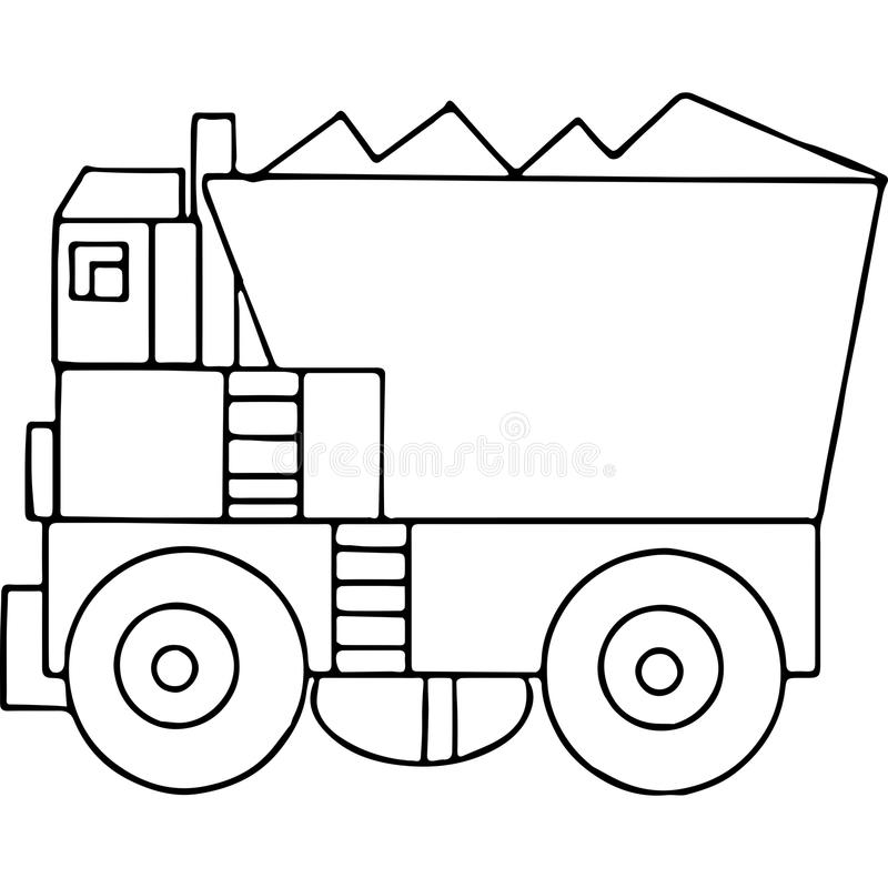 Truck Kids Geometrical Figures Coloring Page Stock