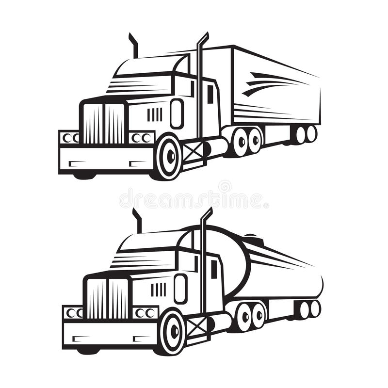 Truck and tank truck stock vector. Illustration of image