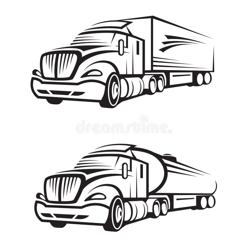Truck and tank truck stock vector. Illustration of motor