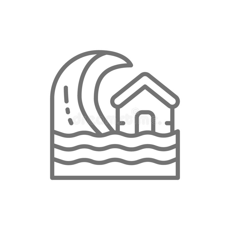 Flood tsunami stock illustration. Illustration of house