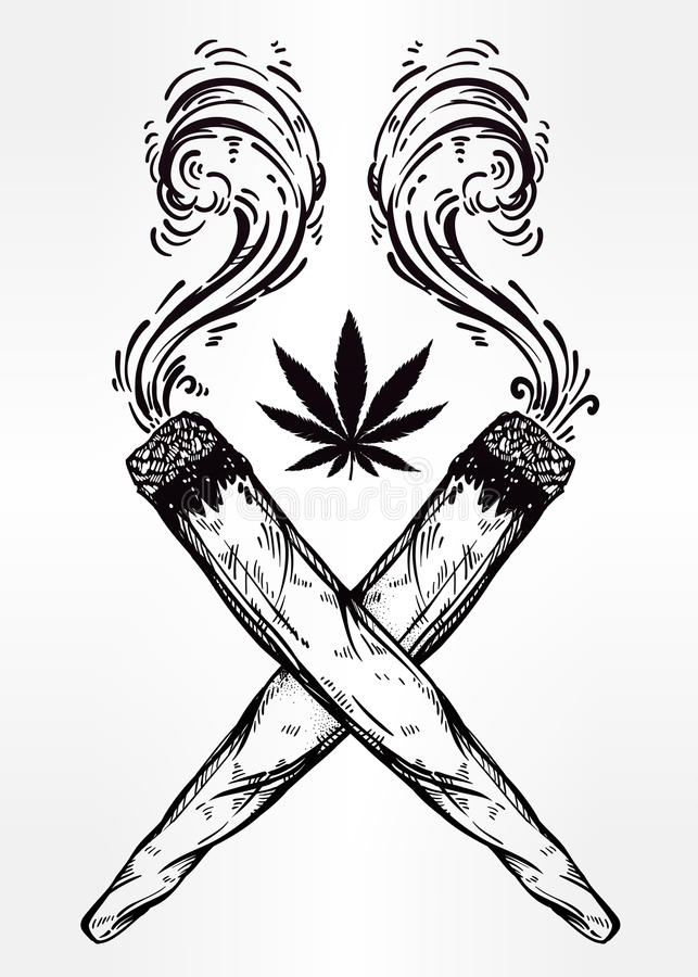 Two Crossed Weed Joints With A Leaf Of Cannabis. Stock