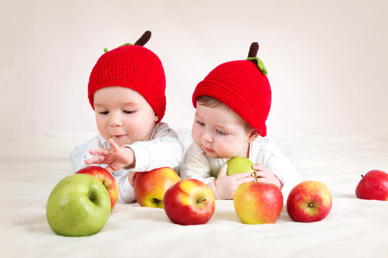 Funny Babies Eating Healthy Food Fruits Stock Photo ...