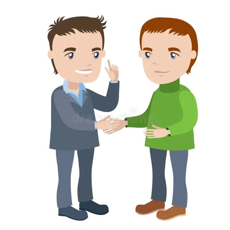 Two men shaking hands stock illustration. Illustration of character - 48881647