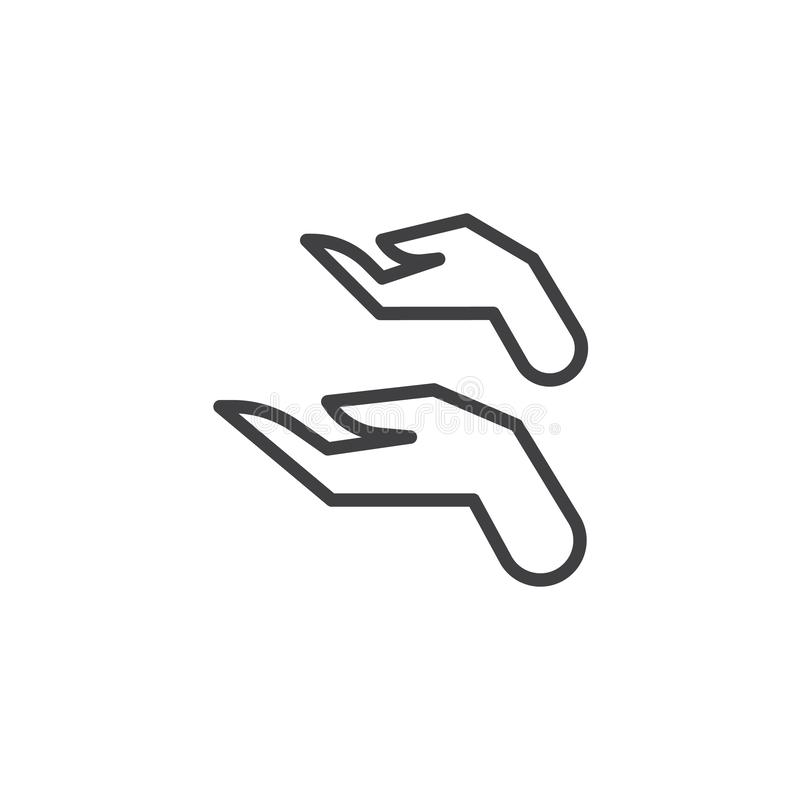Prayer hands outline icon stock vector. Illustration of