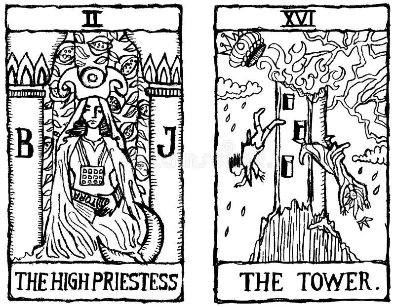 Two Tarot Cards Outline V.2 Stock Illustration