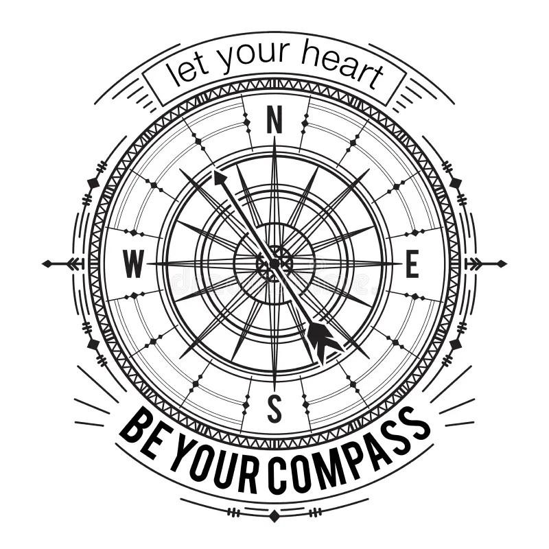 Hand Drawn Vintage Compass Vector