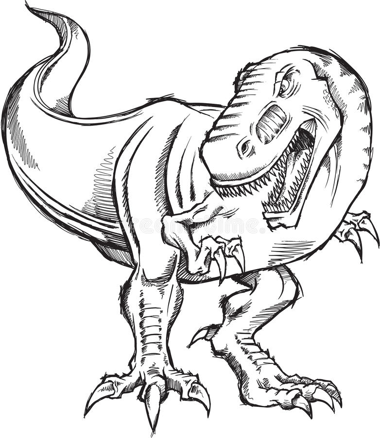 Doodle Dinosaur Vector Vector Illustration