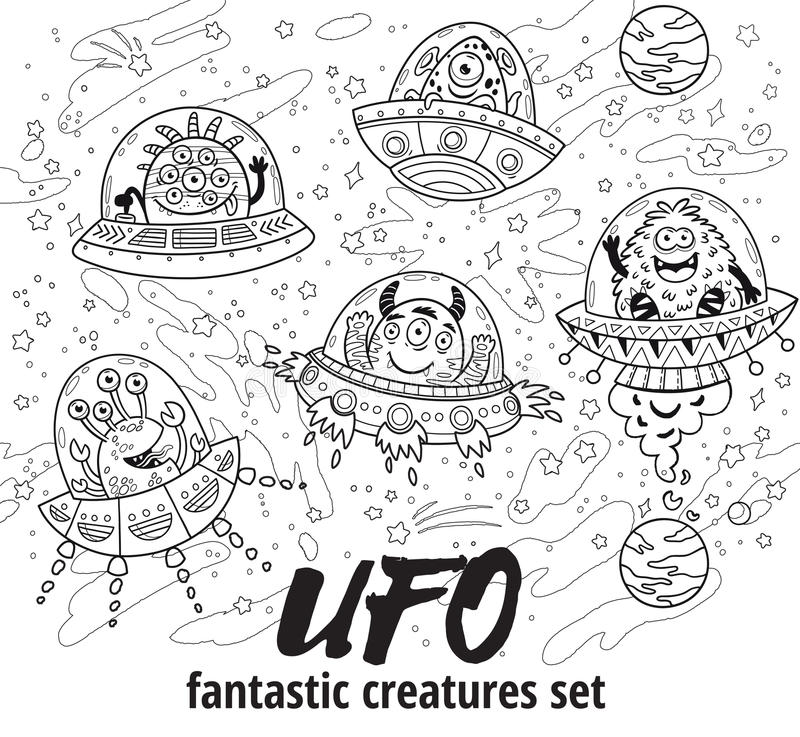 UFO. Fantastic Creatures Set In Outline. Vector