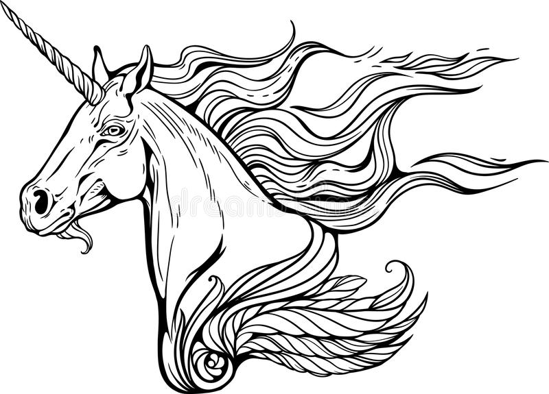 Unicorn With Mane Of Fire Stock Vector